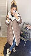 Женская теплая куртка двухсторонняя на силиконе разные цвета, фото 1