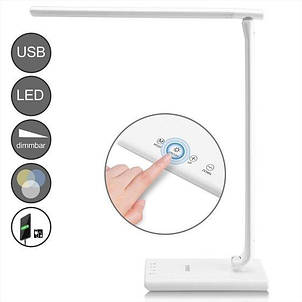 Светодиодная настольная лампа с USB-портом для зарядки мобильного телефона, белая, фото 2