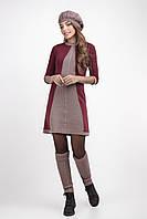Вязаный комплект женский «Кристи» (вязаное платье + берет + гетры   Вишневый   46-48)
