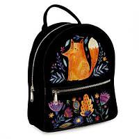 Городской женский рюкзак Лиса и цветы (ERK_FFL001_BL)