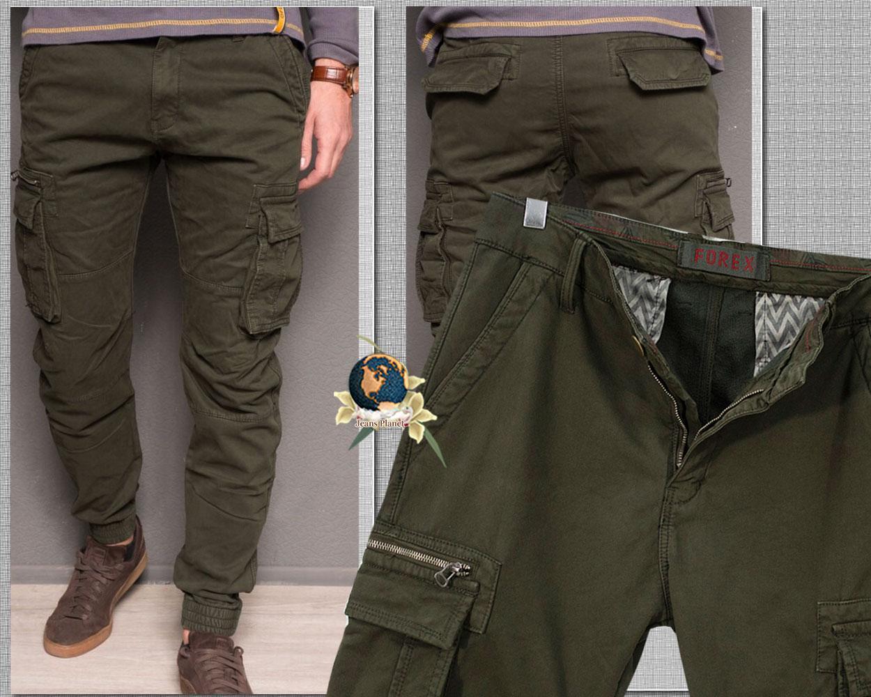 Джинсы мужские зимние карго с карманами зелёные хаки на резинке 40 размер