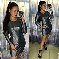 Облегающее мини платье из трикотажа голограмма