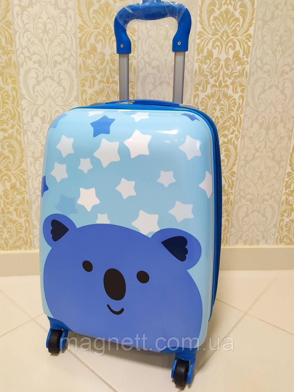 "Детский двусторонний голубой чемодан на 4 колесах ""Мишка"" 45*31*21"