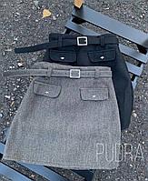 Юбка женская короткая чёрная, серая, хаки, фото 1