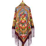 Счастливица 1122-7, павлопосадский платок (шаль) из уплотненной шерсти с шелковой вязанной бахромой, фото 2