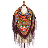 Счастливица 1122-7, павлопосадский платок (шаль) из уплотненной шерсти с шелковой вязанной бахромой, фото 3
