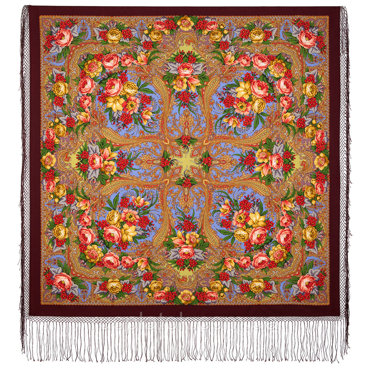 Счастливица 1122-7, павлопосадский платок (шаль) из уплотненной шерсти с шелковой вязанной бахромой