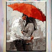 """Картины по номерам, холст на подрамнике, Люди """"Красный зонт"""" 40*50 см в коробке"""