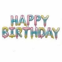 Фольгированная  надпись HAPPY BIRTHDAY (высота 38 см) 399-29 (1108), радужное омбре