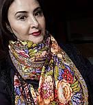 Счастливица 1122-16, павлопосадский платок (шаль) из уплотненной шерсти с шелковой вязанной бахромой, фото 6