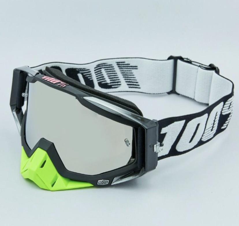Черно-салатовые Мото очки 100% RACECRAFT Goggle Starlight - Clear + Mirror две линзы