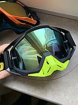 Черно-салатовые Мото очки 100% RACECRAFT Goggle Starlight - Clear + Mirror две линзы, фото 2