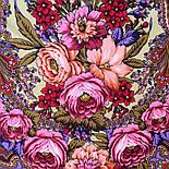 Счастливица 1122-16, павлопосадский платок (шаль) из уплотненной шерсти с шелковой вязанной бахромой, фото 9