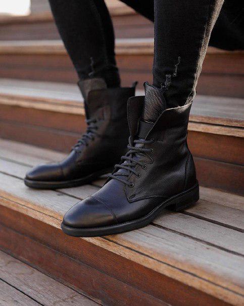 Мужские стильные кожаные ботинки, до - 30