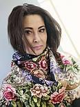 Сиреневый туман 983-19, павлопосадский платок (шаль) из уплотненной шерсти с шелковой вязанной бахромой, фото 6