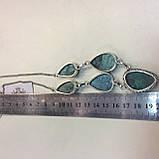 Ожерелье с камнем хризоколла в серебре ожерелье с хризоколлой., фото 7
