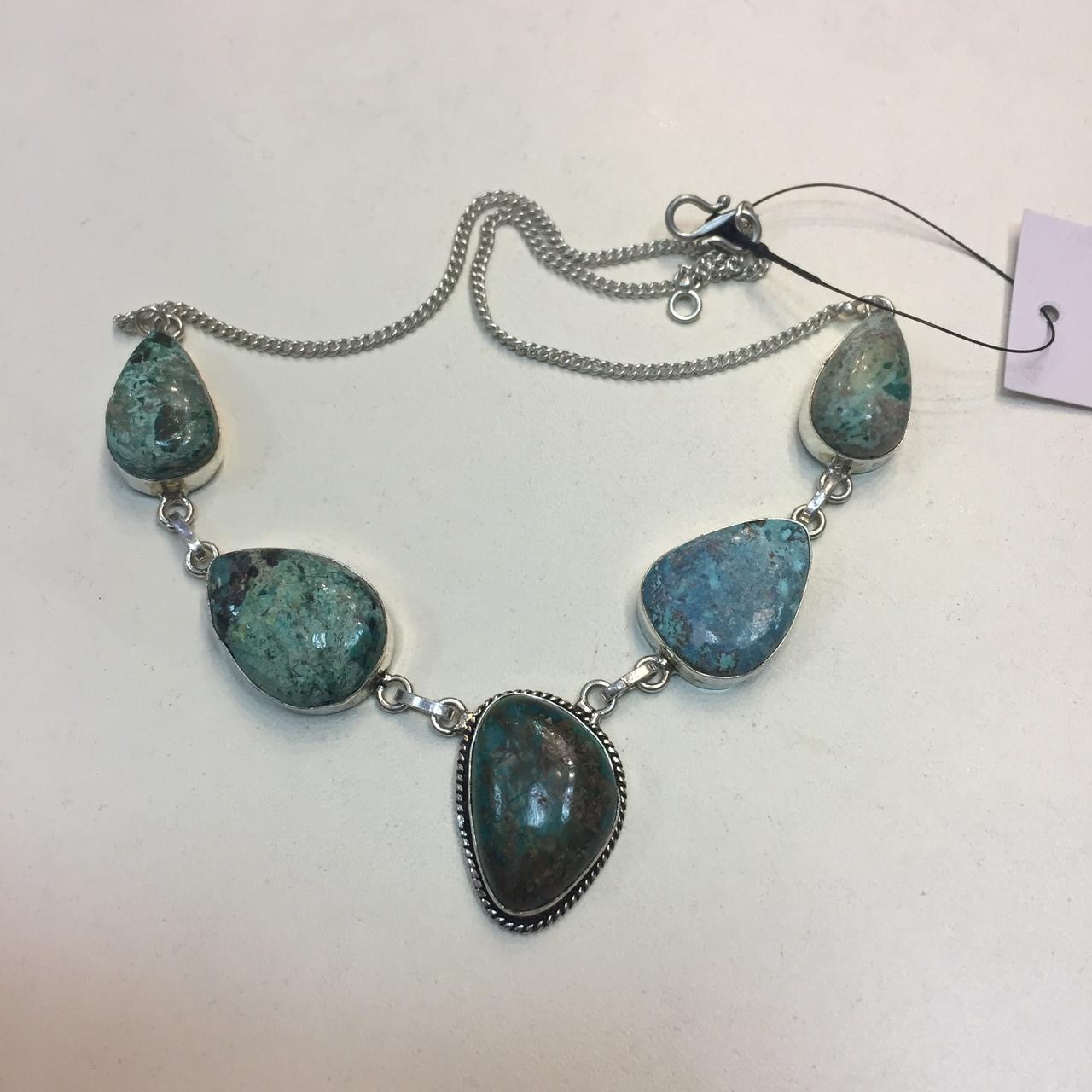 Ожерелье с камнем хризоколла в серебре ожерелье с хризоколлой.