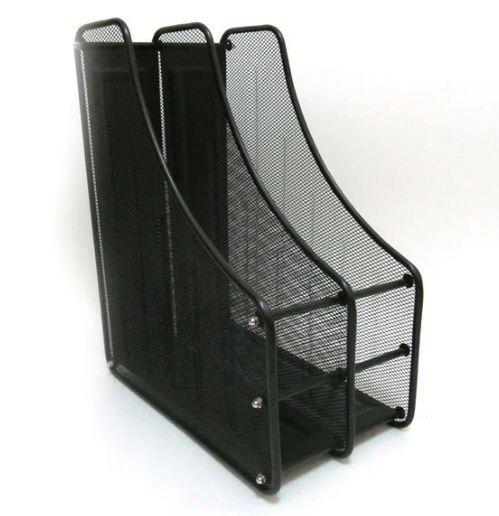 Лоток для бумаг вертикальный 2 отд. метал FS-03 (Z020) черный