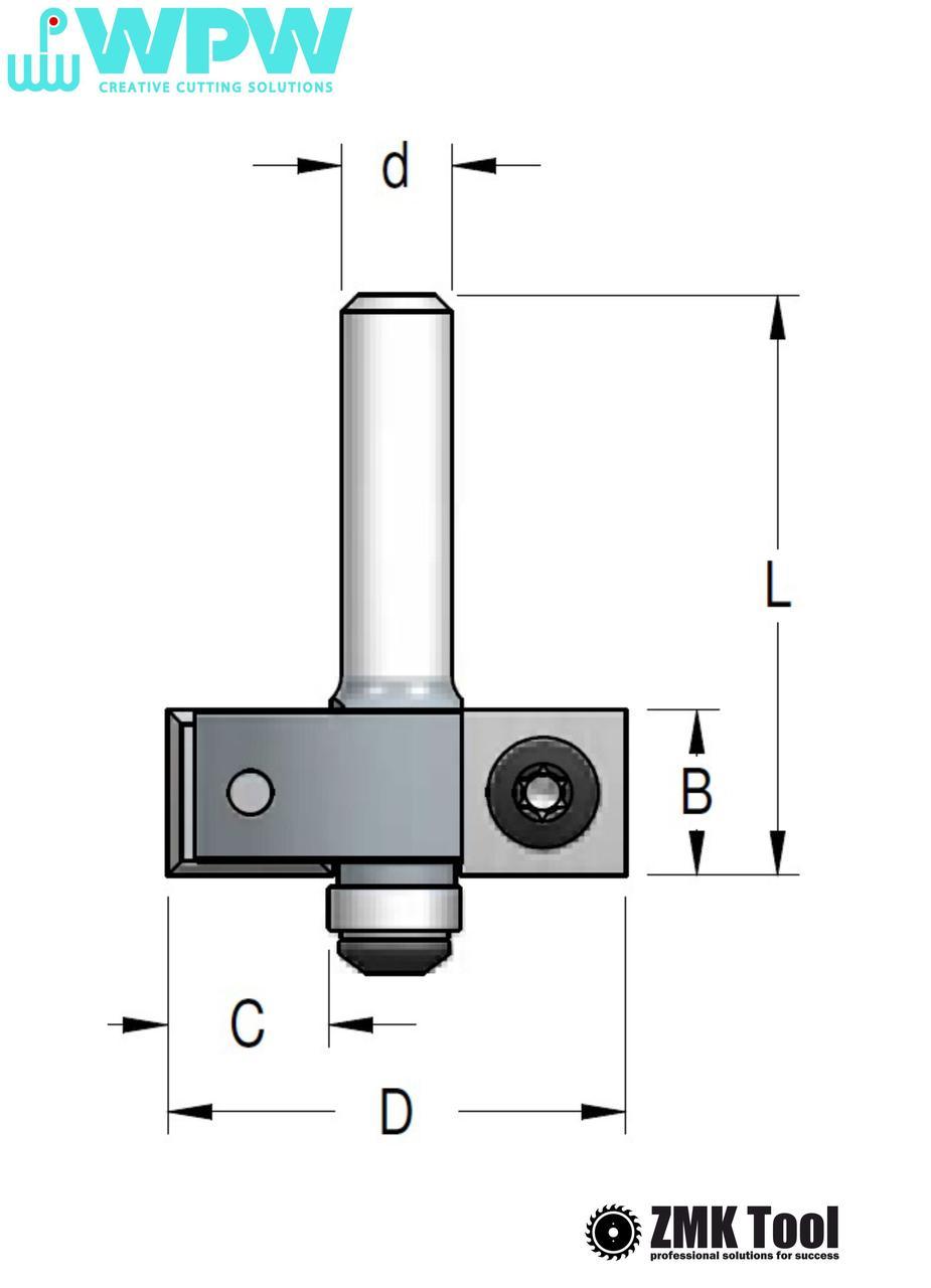 Фреза WPW для выборки четверти с нижним подшипником и сменными ножами D35 H12 В12,7 d12