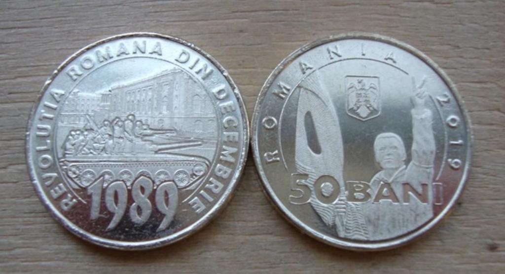 Румыния 50 бани 2019 год. 30 лет Румынской революции декабря 1989 год