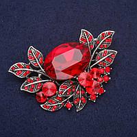 Брошь крупная Акцент в растительном дизайне со стразами и камнем цвет красный 67х45мм серебристый металл