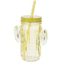 Банка для напитков с соломинкой Кактус, желтая (IMP_45_2_YELLOW)