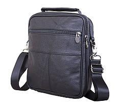 Мужская кожаная сумка Dovhani Black402022  23 х 18 х 7см Черная, фото 3