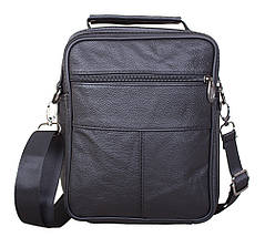 Мужская кожаная сумка Dovhani Black402022  23 х 18 х 7см Черная, фото 2