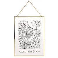 ?Декор настенный Карта на стекле, Амстердам (IMP_1_AMSTER)