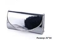 Мега крутой вечерний клатч  серебро глянец,зеркальный