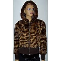 Куртка женская норковая с капюшоном и карманами