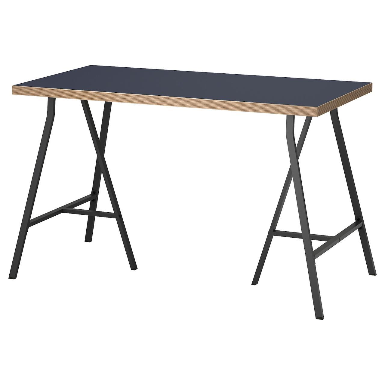 Компьютерный стол IKEA LINNMON / LERBERG синий, серый 120x60 см 392.142.84