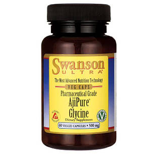 Swanson Ultra AjiPure Glycine, Pharmaceutical Grade Глицин 500 мг 60 капс