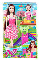 """Кукла с аксессуарами   """"Детская площадка  '' с дочкой  ( брюнетка 28см)"""
