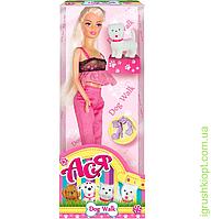 """Кукла с аксессуарами и собачкой  """" Прогулка с собачкой ''   ( блондинка 28см)"""