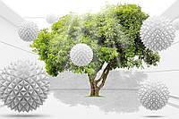Фотообои на флизелиновой основе - Дерево и белые шары 3Д (ширина рулона -1,03м)