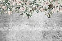 Фотообои на флизелиновой основе - Розы и кружево на фоне бетонной стены (ширина рулона -1,03м)