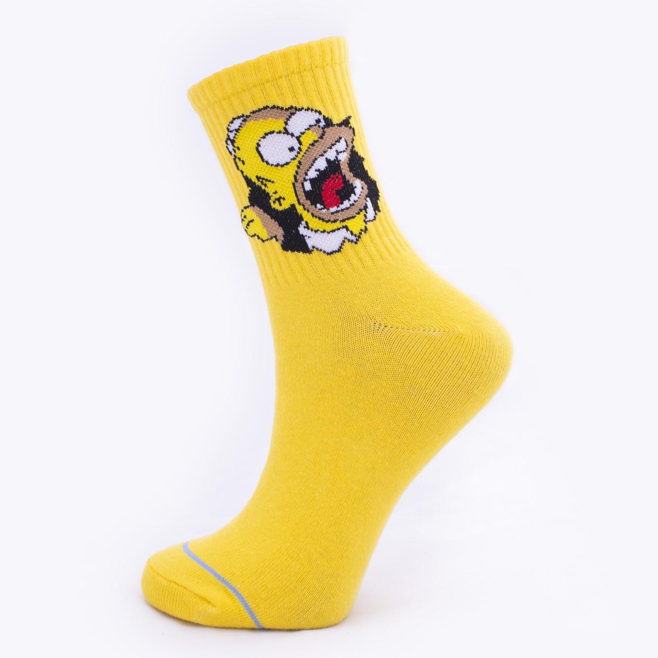 """Шкарпетки жовті з принтом """"Сімпсони Гомер """""""