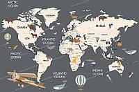 Фотообои на флизелиновой основе - Карта с животными на сером фоне(ширина рулона -1,03м)