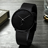 Часы наручные CRRJU. Мужские водонепроницаемые часы Black