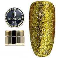 Diamond гель Milano 010, глиттерный гель моделирующий цветной гель с блестками, 8 гр