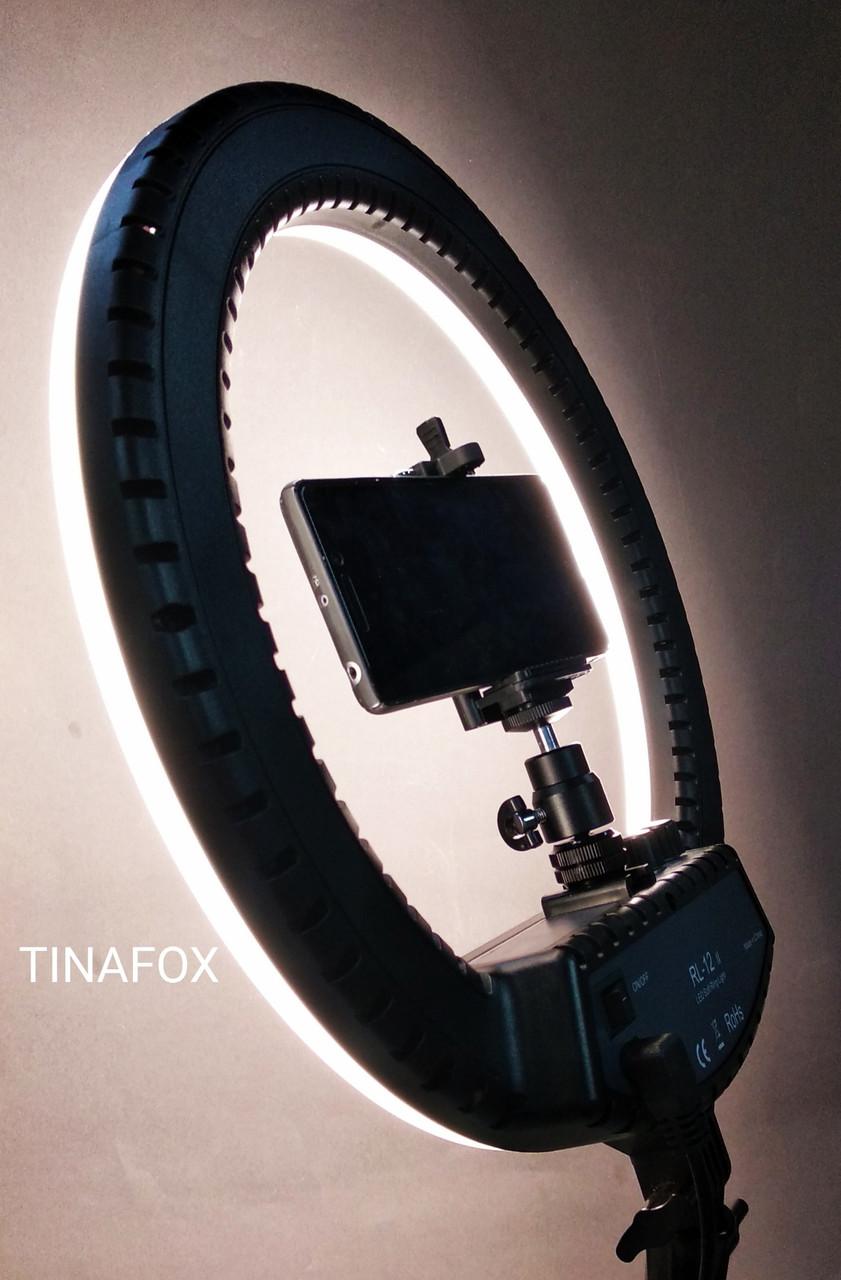 Лампа лід кільцева LF - 12 || чорна на штатив-тринозі для зйомки (сумка в комплекті)