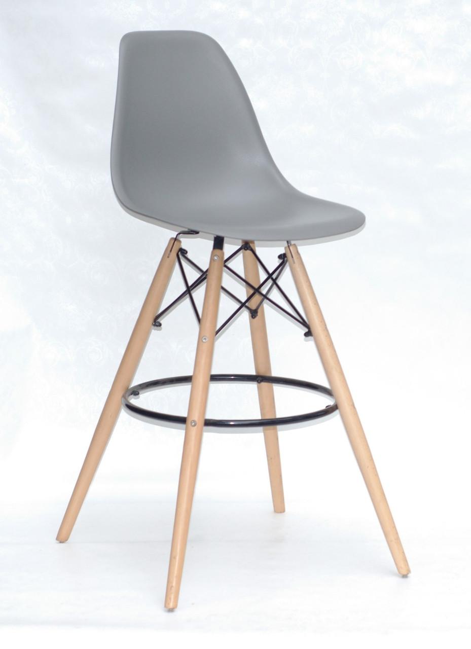 Высокий барный стул Тауэр Вуд серый пластик от SDM Group буковые ножки, хокер