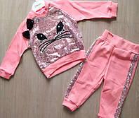 Костюм детский для девочки «Котик пайетки» 6-24 мес,розового цвета