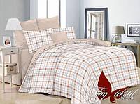 Комплект постельного белья двухцветный Country поплин, евро макси