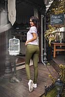 Женские стильные узкие джинсы хаки