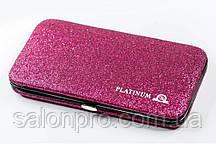 Чехол магнитный Platinum на 6 пинцетов малиновый с блестками