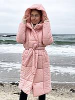 Зимняя куртка длинная с поясом на силиконе в разных расцветках, фото 1