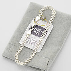 """Серебряный браслет """"Бисмарк классический"""", ширина 4 мм, длина 21 см, вес серебра 5.5 г"""
