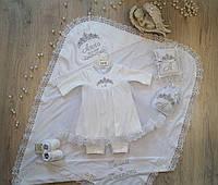"""Крестильный набор """"Анна"""" крыжма, костюм, пинетки, мешочек, подушечка, фото 1"""